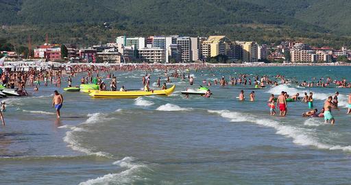 People On Crowded Beach In Bulgaria GIF