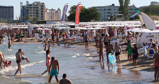 Crowded Sunny Beach Live Action