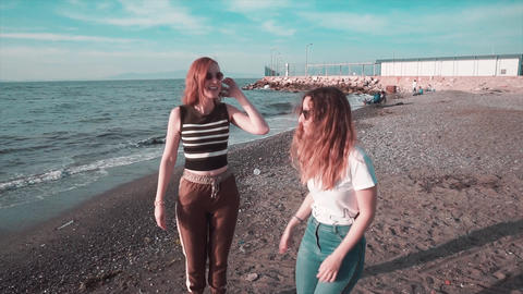 Girls are dancing on beach. Happy summer party, fun at... Stock Video Footage