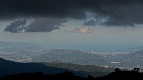 Dark Rainy Cloud Motion above Hills Resort City Ocean Footage