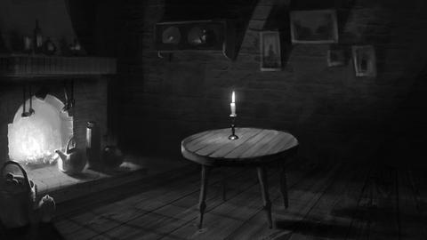 Dark Room with a Fireplace and Candlelight After Effects Template
