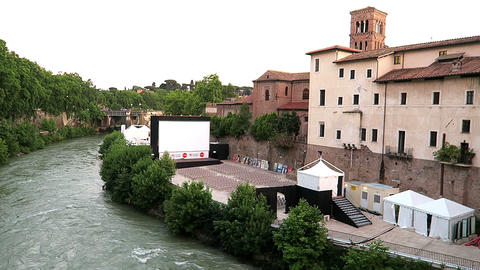 Rome Italy 17 June 2016. Tiber Island (Isola Tiberina) open air cinema Footage