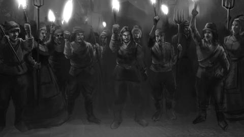 Angry Medieval Mob with torches CG動画素材