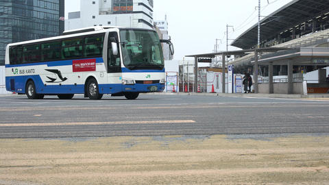 Aichi,Japan-August 20, 2019: JR express bus ready for departure at a bus station near JR Nagoya Live Action