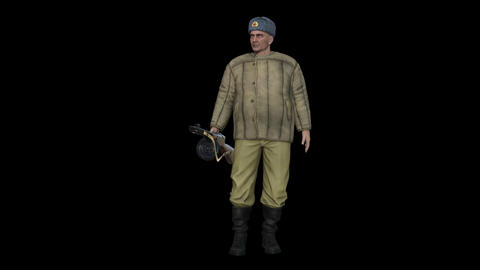 Russian Soldier with weapon , Animation, Transparent Background Footage