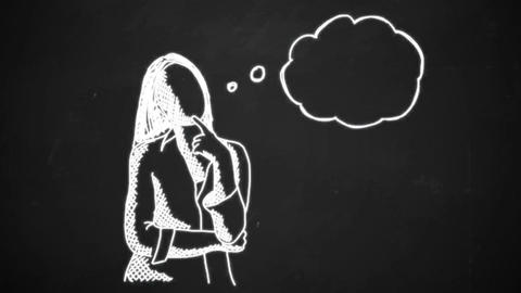 chalk drawing animation of young woman with thinking bubble Animation