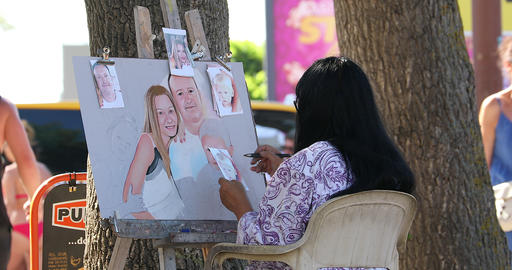 Street Artist Drawing Portraits Live Action
