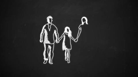 hand drawing line art showing family icon with white chalk on blackboard Animation