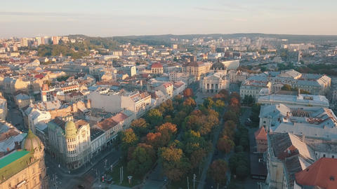 Aerial City Lviv, Ukraine. European City. Popular areas of the city. Lviv Opera Footage