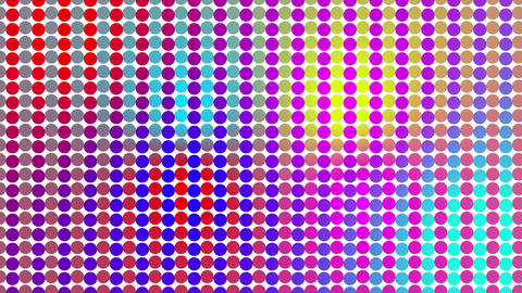 Multicolored led sphere pattern, background. Colorful led wall, night club screen Animation