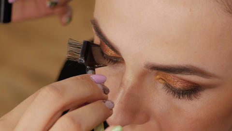 Beautiful brunette comb eyelashes Footage