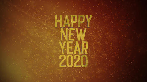 """""""Happy New Year 2020"""" text in front of beautiful golden particles, glitters background. Greeting Animation"""