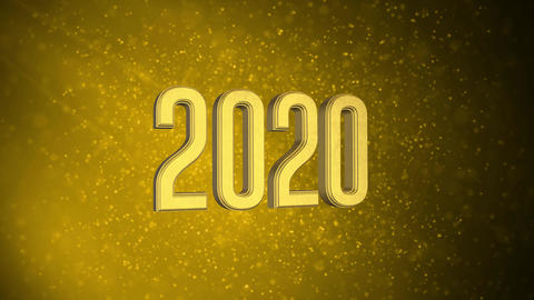 """""""2020"""" text in front of beautiful golden particles, glitters background. Greeting Christmas with Animation"""