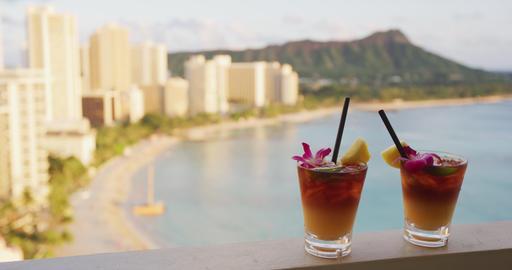 Drinks cocktails - Alcoholic drink close up on Waikiki Beach, Oahu, Hawaii Live Action