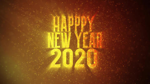 """""""Happy New Year 2020"""" text in front of beautiful golden particles, glitters background. Greeting CG動画"""