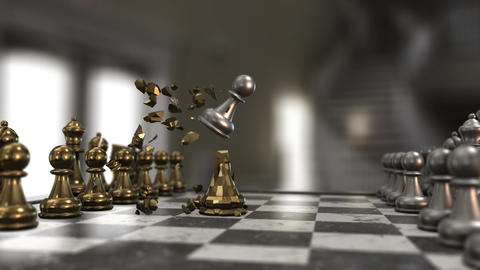 pawn shattering a golden queen chess piece Animation
