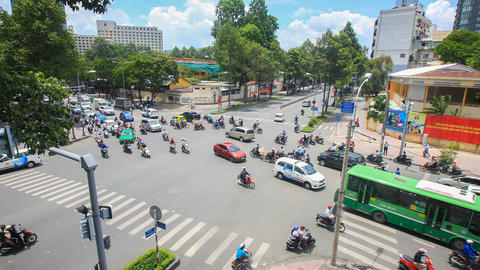 Ho chi minh city traffic at Intersection , Vietnam Footage
