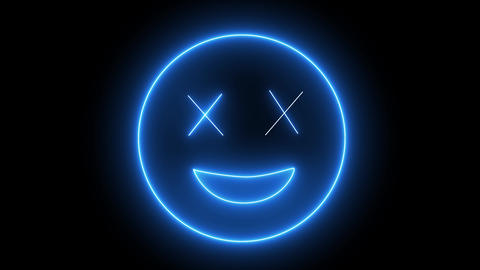 Neon emoji face, smiling sign. Web character with neon, glowing light. Isolated smiley face Animation