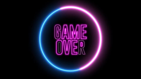 "Neon text of ""GAME OVER"" inside neon, led swirling round Animation"