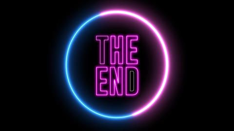 "Neon text of ""THE END"" inside neon, led swirling round Animation"