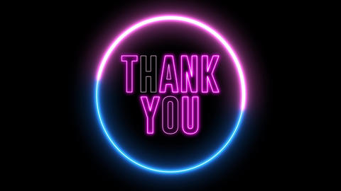"Neon text of ""THANK YOU"" inside neon, led swirling round Animation"