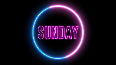 "Neon text of ""SUNDAY"" inside neon, led swirling round Animation"
