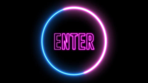 "Neon text of ""ENTER"" inside neon, led swirling round Animation"