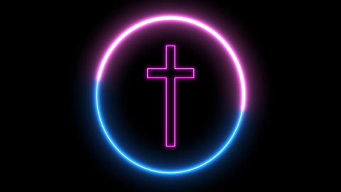 Neon crucfix, religion concept. Inside swirling round, sign of Christianity Animation