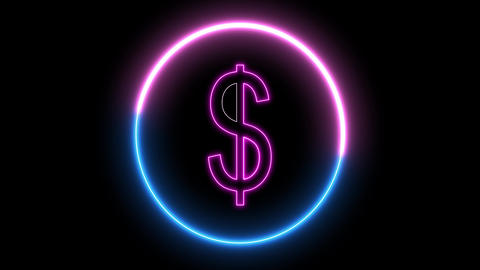 Neon $ symbol. Inside swirling neon round, dollar sign Animation