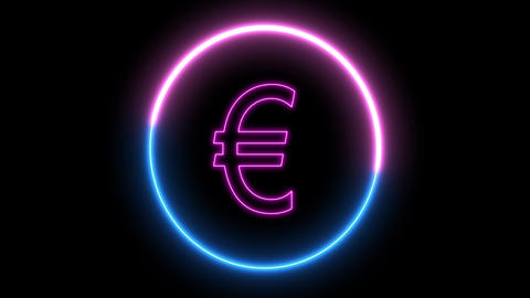 Neon EURO money symbol. Inside swirling neon round, Euro sign Animation