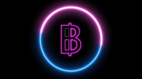 Neon bitcoin symbol, Concept of new money of technology. Glowing led light and swirling round with Animation