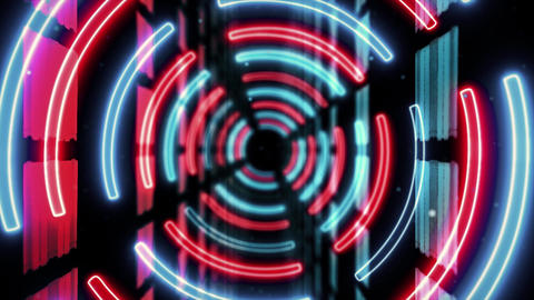 Abstract creative neon, led tunnel with round, circular shapes. Futuristic floor, hall, stage with Animation