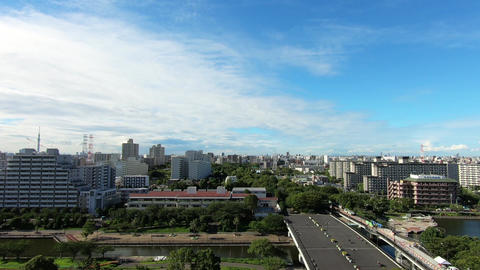 Panoramic landscape. Apartments lined up on a sunny day Footage