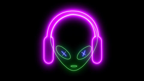 Neon UFO face, alien emoji listening music with headphones glowing light. Creature, monster, Animation