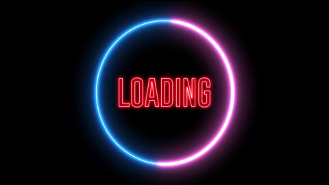 Creative neon loading circles. Colorful abstract light, bar of loading. HUD Animation