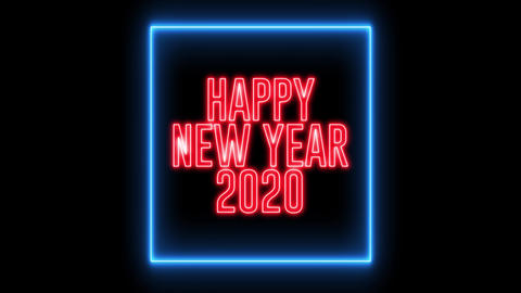 "New Year greeting with neon light. Colorful neon, led lights text of ""Happy New Year 2020"" Animation"