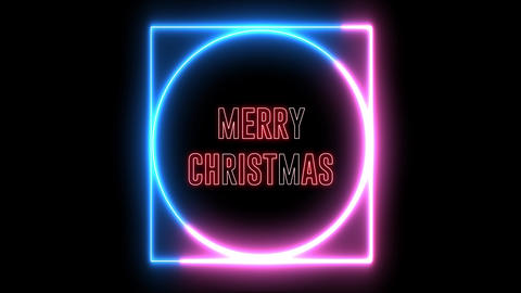 "New Year greeting with neon light. Colorful neon, led lights text of ""Merry Christmas"" Animation"