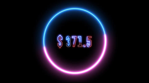 Increase money animation with neon abstract light. Earning dollar, increase in monetary gain Animation