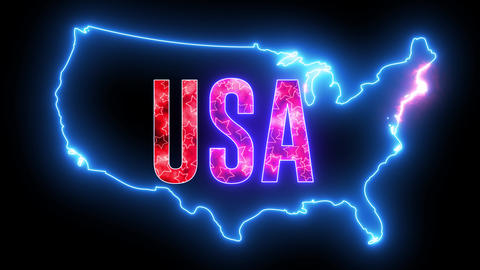 United States of America map with neon glowing light. Creative animation of America, shiny outline Animation