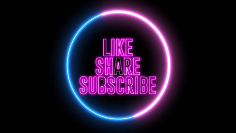 """Text of """"LIKE, SHARE, SUBSCRIBE"""" inside neon colorful circle. Social media animation Animation"""