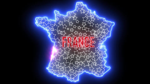 France map with neon light. Creative outline of French country with flag Animation