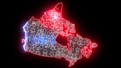 Canada map with neon light. Creative glow animation, Canada outline Animation