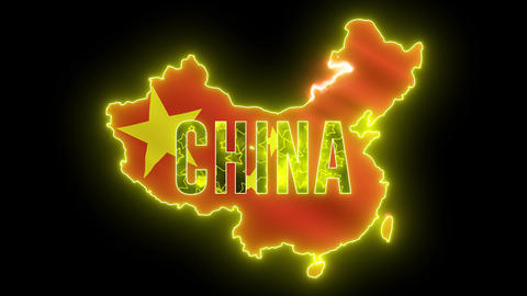 China map outline with neon light. Creative animation Chinese country with beautiful China Flag Animation