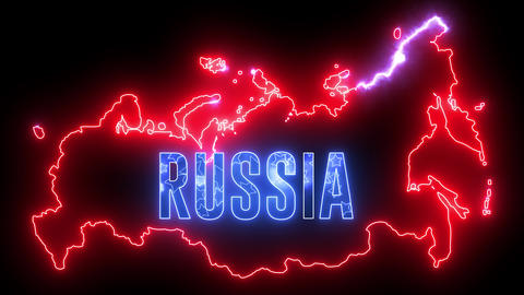 Neon, futuristic map of RUSSIA. Creative country geography Animation