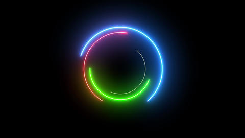 Neon colorful swirling rounds. Abstract creative HUD with neon, glowing light Animation