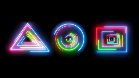 Abstract creative neon HUD. Colorful neon lights and triangle, round and square digital objects Animation