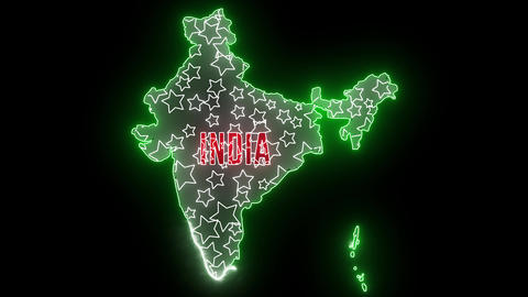 India map with neon lights. Abstract creative animation for led, neon outline of Indian country with Animation