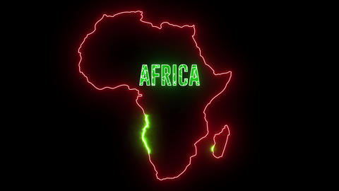 Africa map with neon light. Outline of continent Africa, shiny creative abstract lights Animation