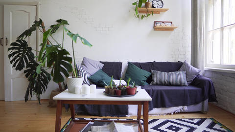 A beautiful carpet, a small table with magazines, a cozy sofa against the white Footage