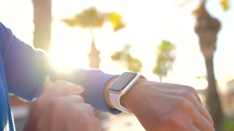 Smartwatch. Woman using smart watch. Closeup of female... Stock Video Footage